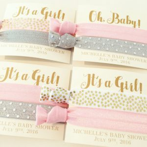 baby shower hair tie favors