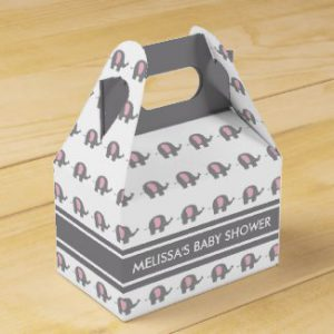 gray pink elephant baby shower favor boxes