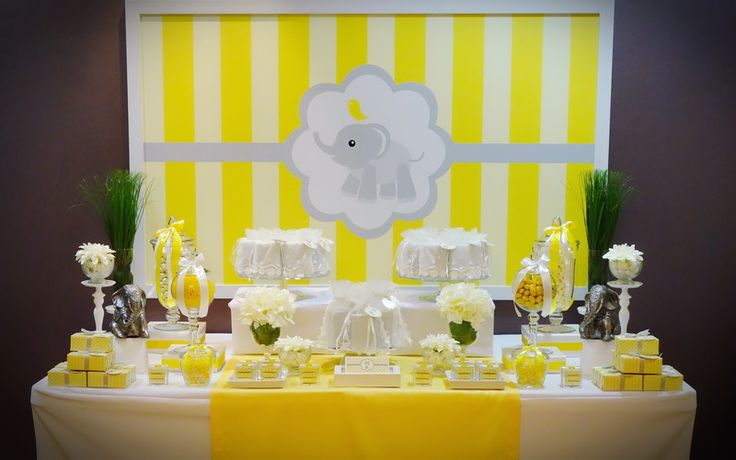 grey and yellow elephant baby shower