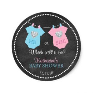 he_or_she_gender_reveal_chalkboard_baby_shower_classic_round_sticker