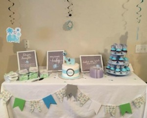 blue elephant baby shower theme