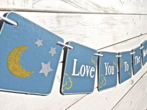 moon and star baby shower banner
