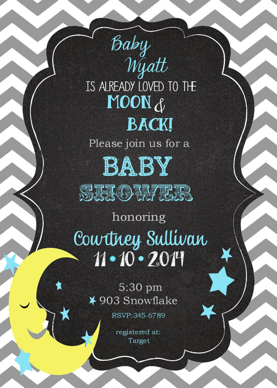 moon and star baby shower invitations