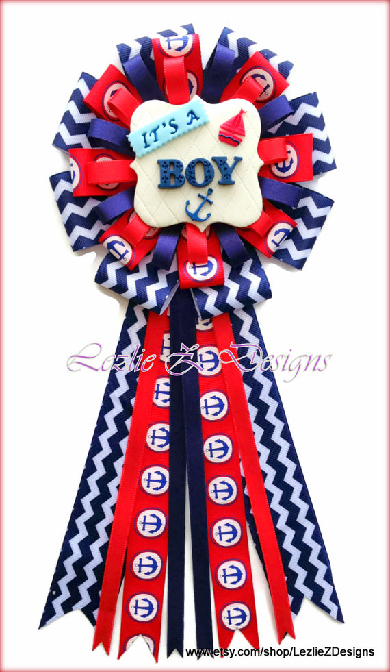 nautical baby shower corsage