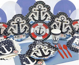 nautical baby shower tableware