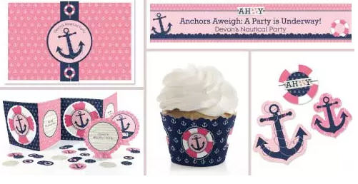 nautical baby shower supplies for girls