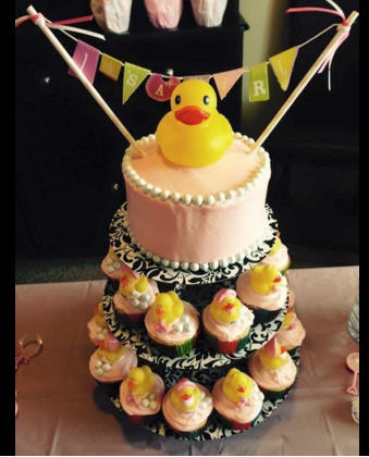 pink rubber ducky baby shower decorations