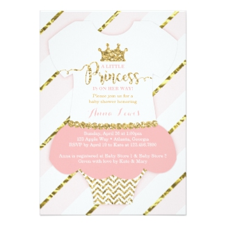 princess baby shower invitations gold pink