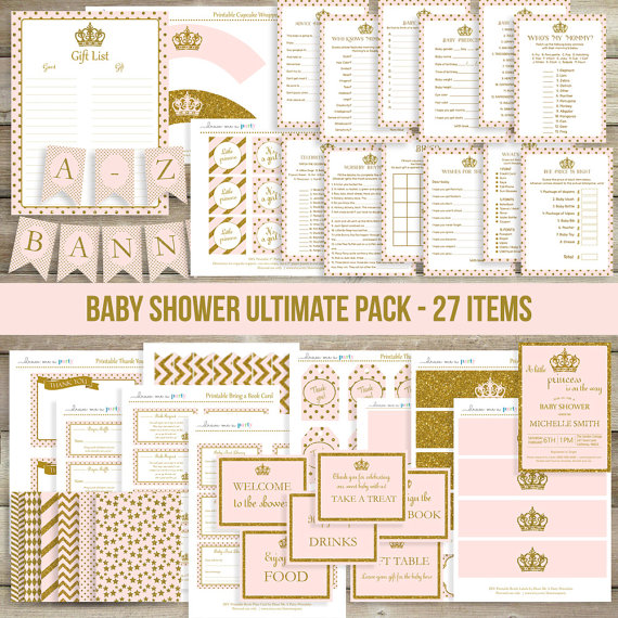 princess baby shower supply pack