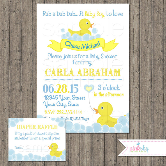 printable rubber ducky baby shower invitation