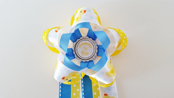 rubber ducky baby shower corsage