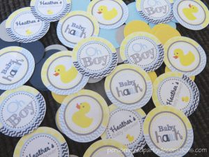 rubber ducky baby shower confetti