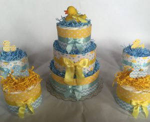 rubber ducky baby shower mini diaper cakes