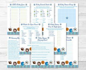 sports theme baby shower games