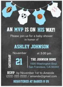 baby shower sports theme invitations