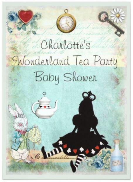 Alice in Wonderland Tea Party Baby Shower Invitations