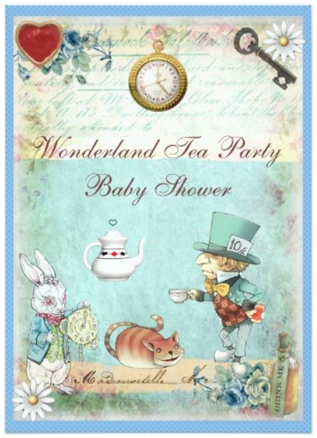 Mad Hatter Baby Shower invitation cards