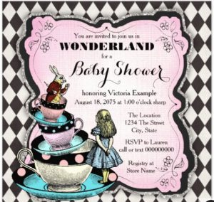 Vintage Alice in Wonderland Baby Shower Invitations