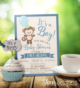 Baby shower monkey theme girl boy unisex sock monkey baby shower monkey baby shower invitations filmwisefo Image collections