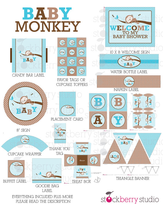 printable monkey baby shower pack