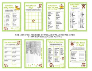 printable moneky baby shower games