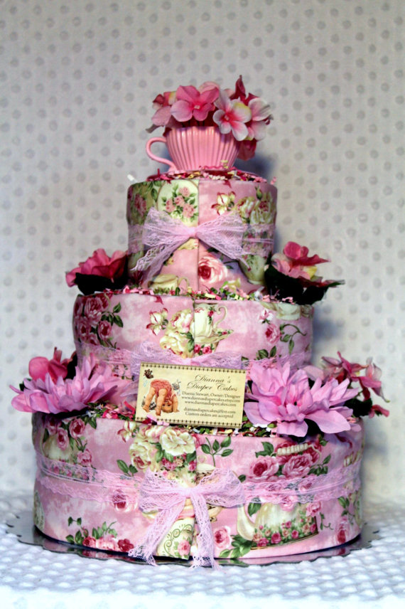 tea party baby shower diaper cake