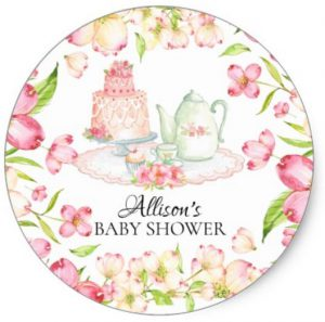 tea party baby shower stickers