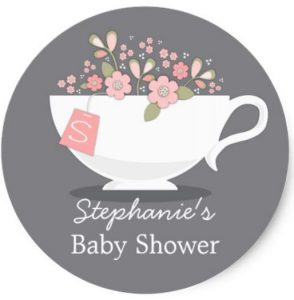 tea party baby shower thank you stickers