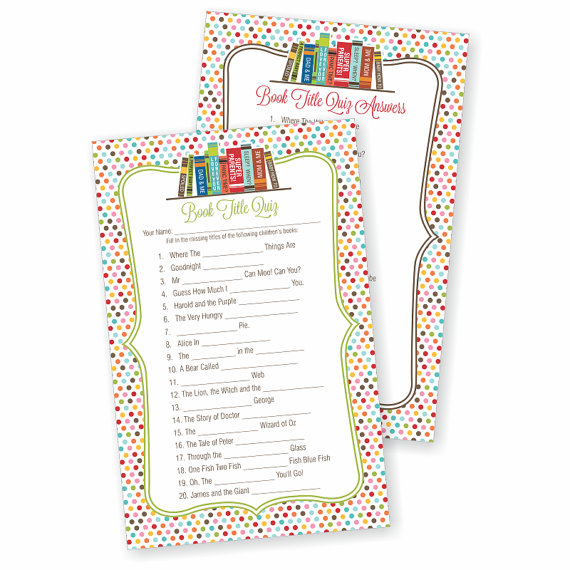 book theme baby shower games