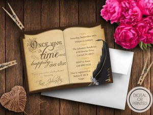 book theme baby shower invitations