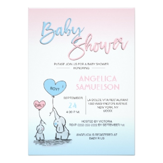 cute gender reveal neutral baby shower invitations