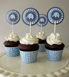 elephant baby shower cupcake toppers