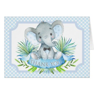 elephant baby shower thank you cards - boy