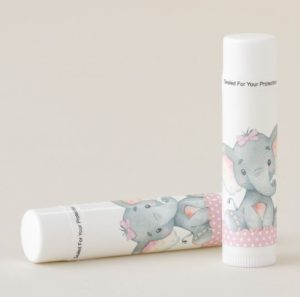 personalized elephant baby shower lip balm favors