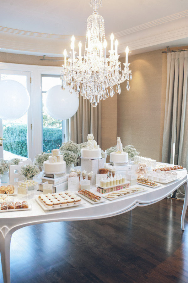 all white baby shower theme
