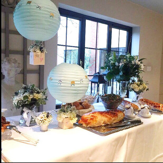 hot air balloon baby shower centerpieces