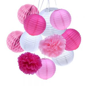 pink and white baby shower decorations