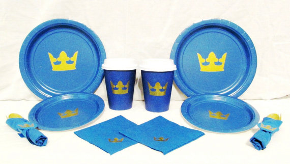 royal blue prince baby shower plates