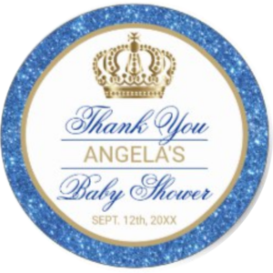 royal prince baby shower stickers