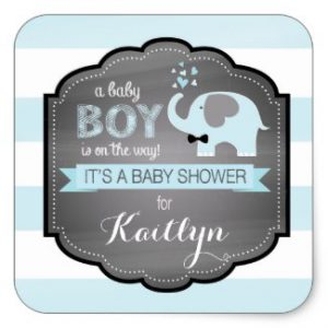 blue_elephant_bow_tie_stripe_baby_shower_square_sticker