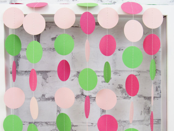 hot pink and green baby shower decorations