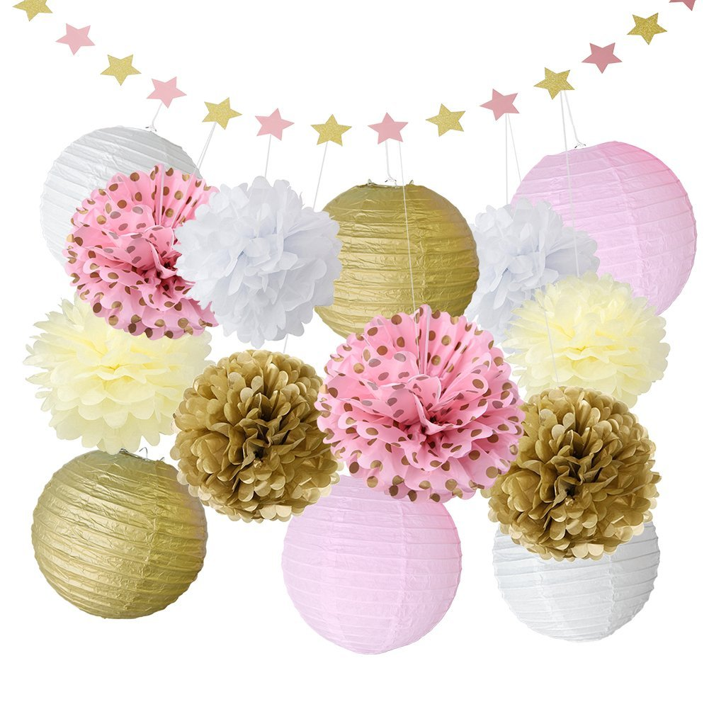 pink and gold baby shower decorations for girls