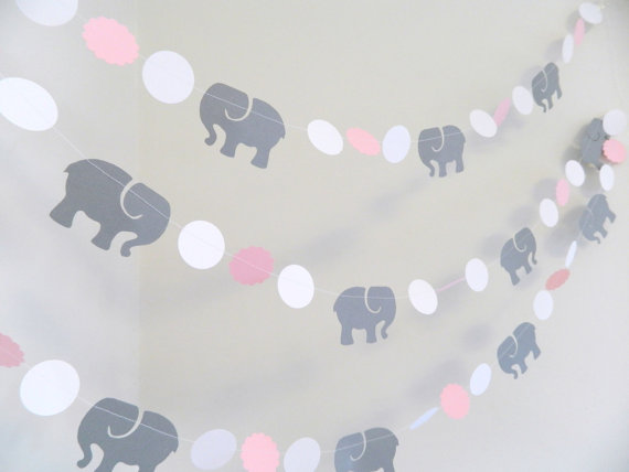 pink elephant baby shower garland