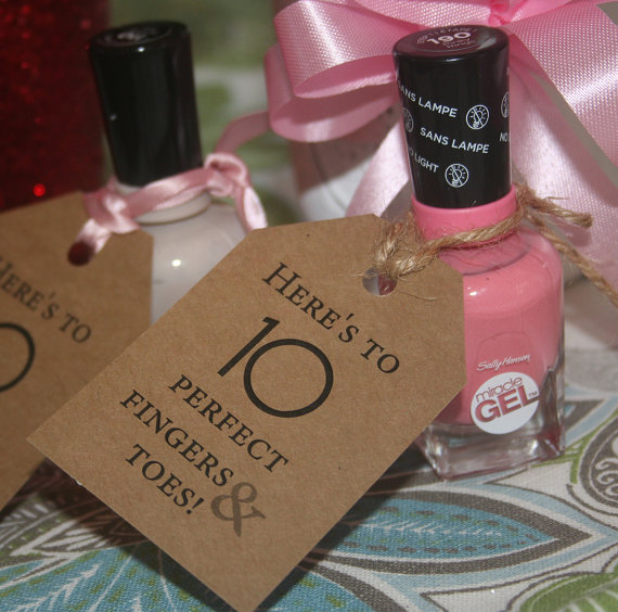 baby shower favor nail polish tags