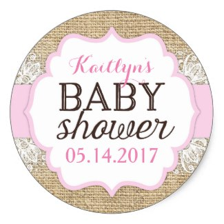 rustic_burlap_lace_pink_girl_baby_shower stickers