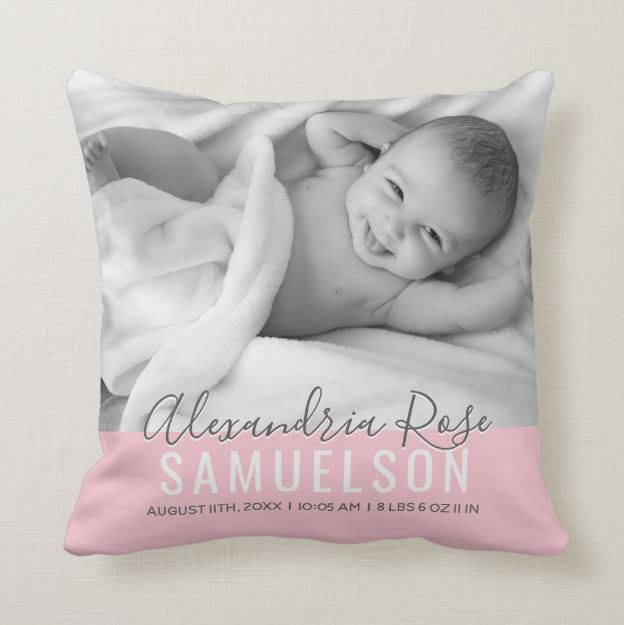 personalized birth stats baby pillow photo