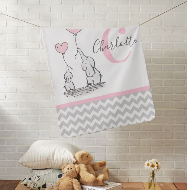 personalized elephant baby blanket - girl
