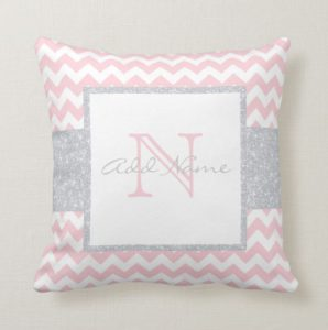 personalized monogram baby nursery pillow - girl